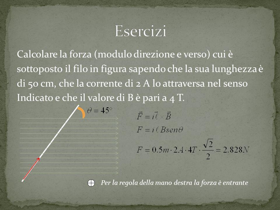 Esercizi Calcolare la forza (modulo direzione e verso) cui è