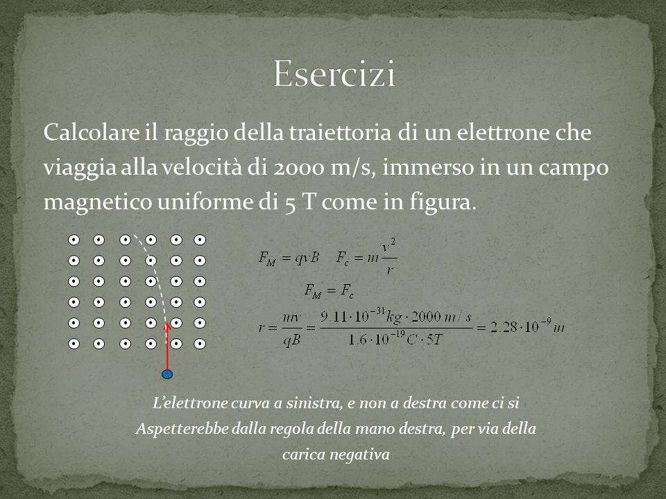 Esercizi Calcolare il raggio della traiettoria di un elettrone che