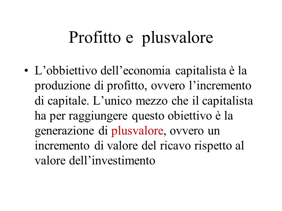 Profitto e plusvalore