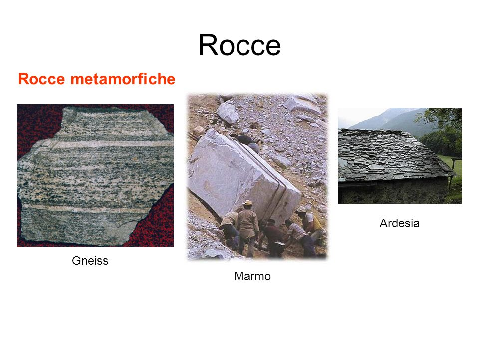 Rocce Rocce metamorfiche Ardesia Gneiss Marmo