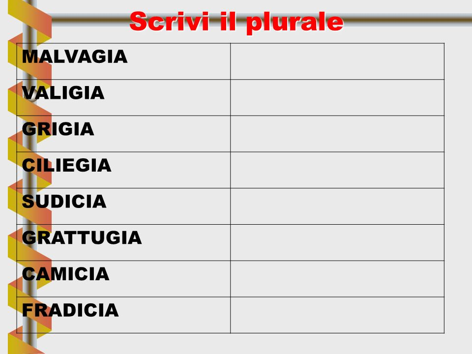 Scrivi il plurale MALVAGIA VALIGIA GRIGIA CILIEGIA SUDICIA GRATTUGIA