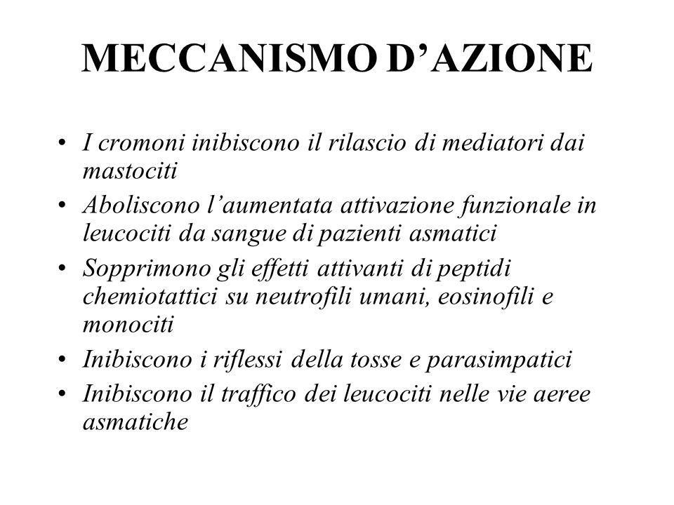 MECCANISMO D'AZIONE I cromoni inibiscono il rilascio di mediatori dai mastociti.