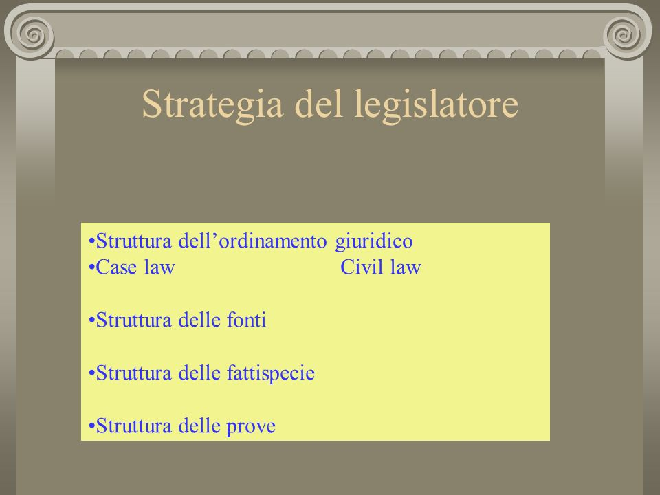 Strategia del legislatore