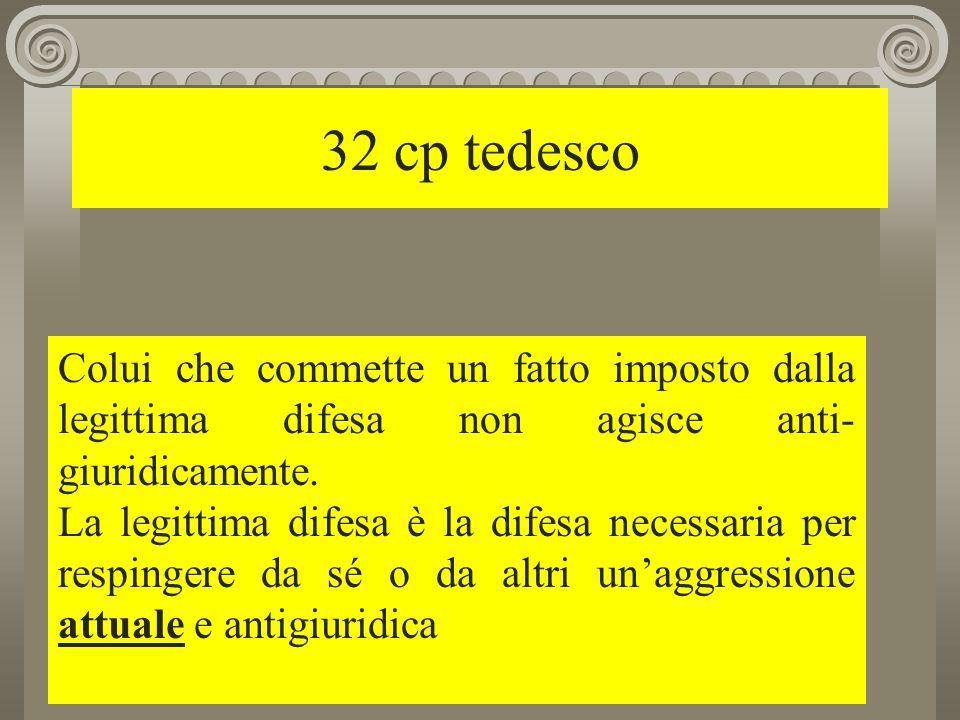 32 cp tedesco Colui che commette un fatto imposto dalla legittima difesa non agisce anti-giuridicamente.