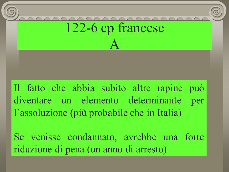 122-6 cp francese A Il fatto che abbia subito altre rapine può diventare un elemento determinante per l'assoluzione (più probabile che in Italia)