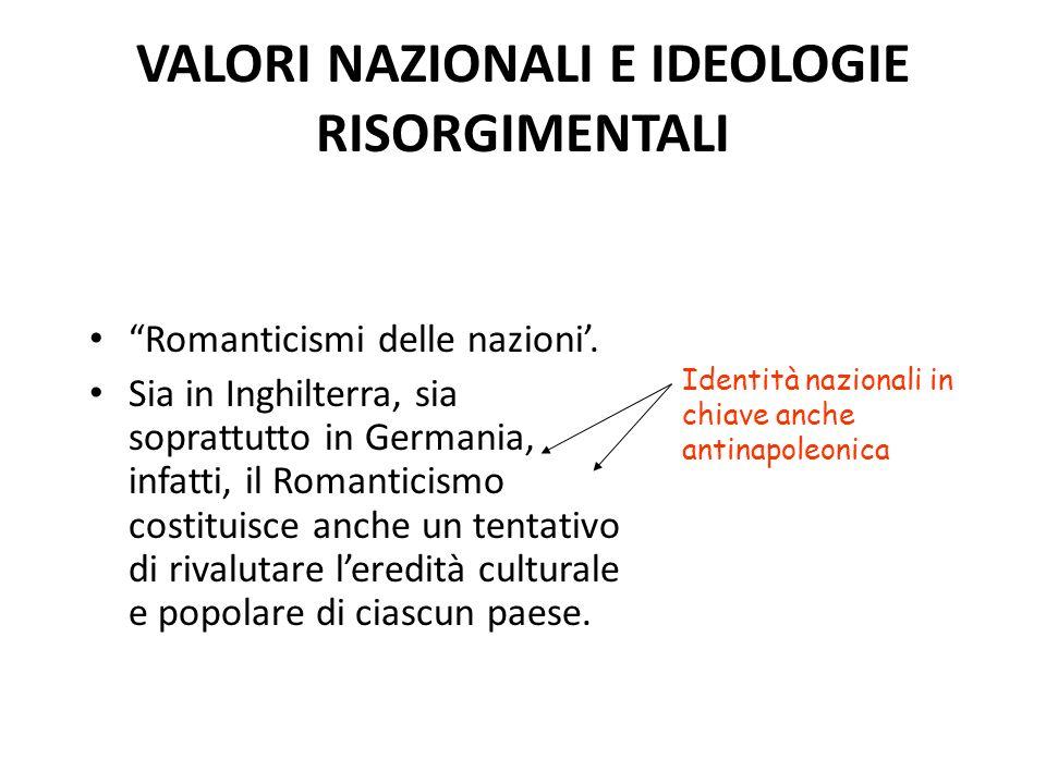 VALORI NAZIONALI E IDEOLOGIE RISORGIMENTALI