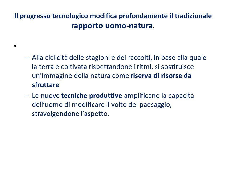 Il progresso tecnologico modifica profondamente il tradizionale rapporto uomo-natura.