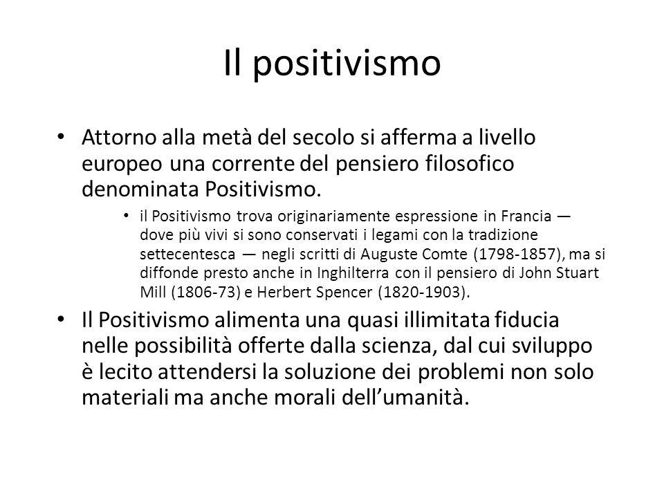 Il positivismo Attorno alla metà del secolo si afferma a livello europeo una corrente del pensiero filosofico denominata Positivismo.