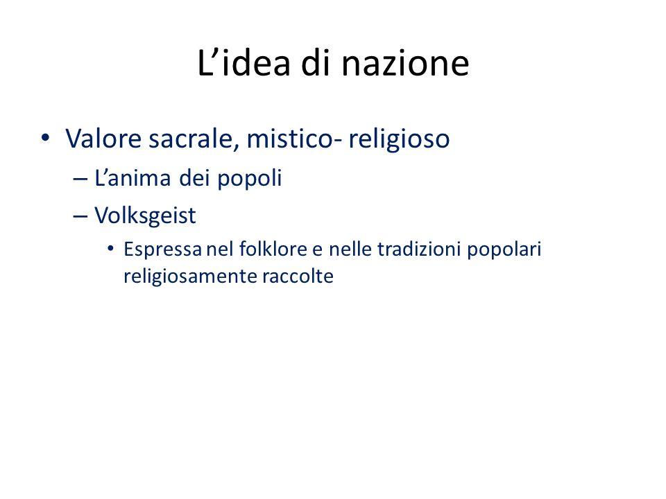 L'idea di nazione Valore sacrale, mistico- religioso