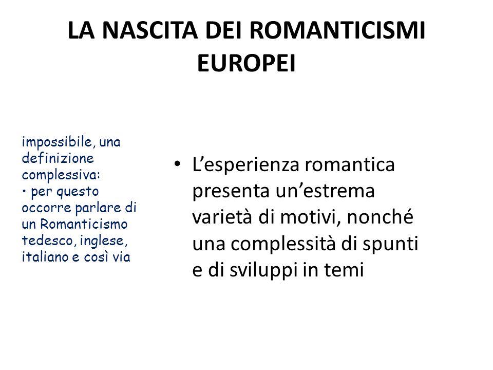 LA NASCITA DEI ROMANTICISMI EUROPEI