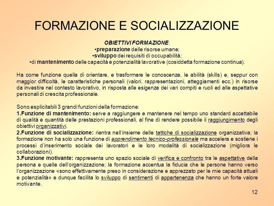 FORMAZIONE E SOCIALIZZAZIONE