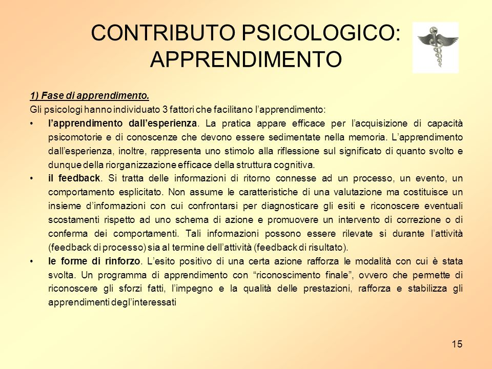 CONTRIBUTO PSICOLOGICO: APPRENDIMENTO