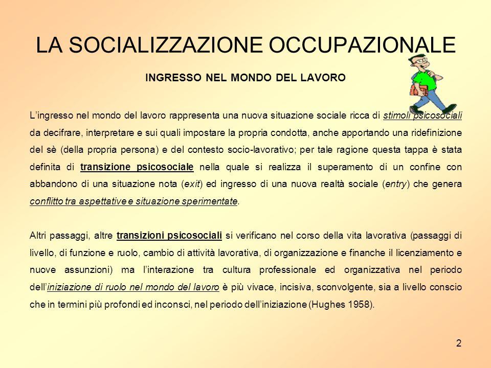 LA SOCIALIZZAZIONE OCCUPAZIONALE