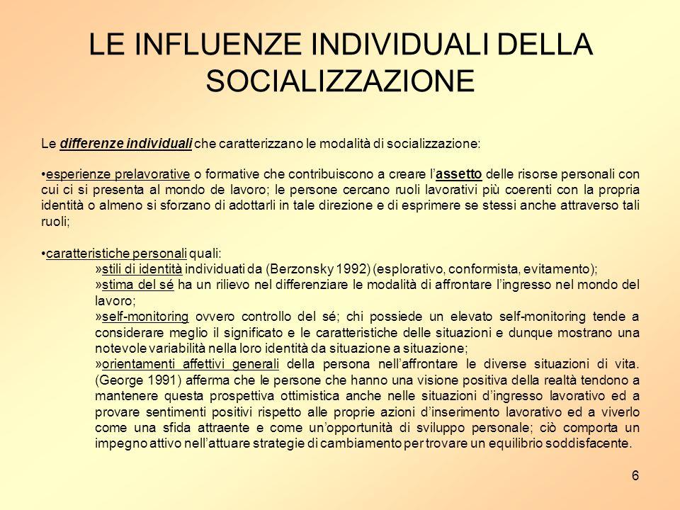LE INFLUENZE INDIVIDUALI DELLA SOCIALIZZAZIONE