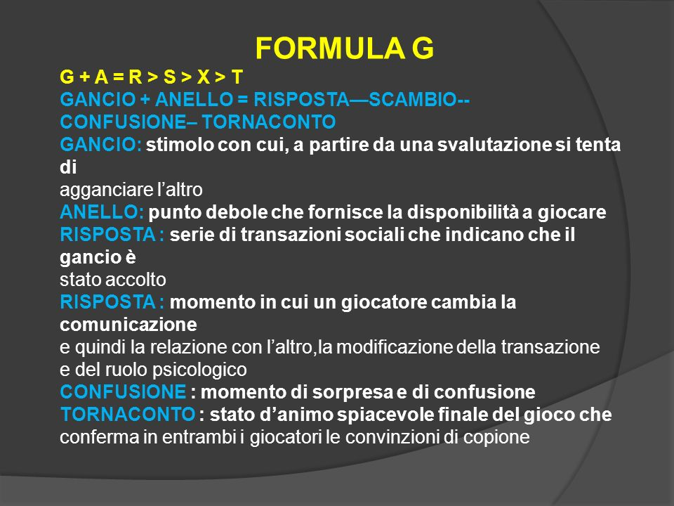 FORMULA G G + A = R > S > X > T