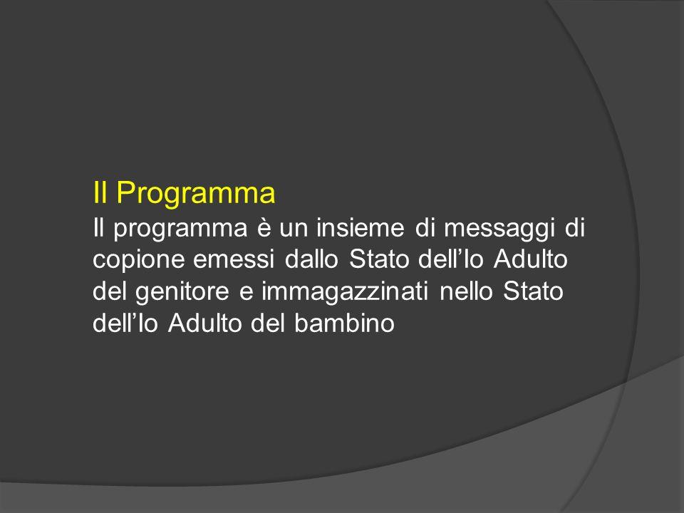 Il Programma Il programma è un insieme di messaggi di