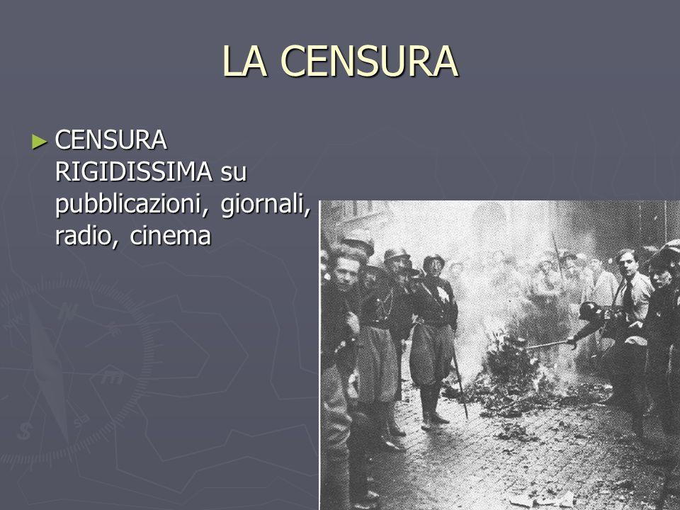LA CENSURA CENSURA RIGIDISSIMA su pubblicazioni, giornali, radio, cinema
