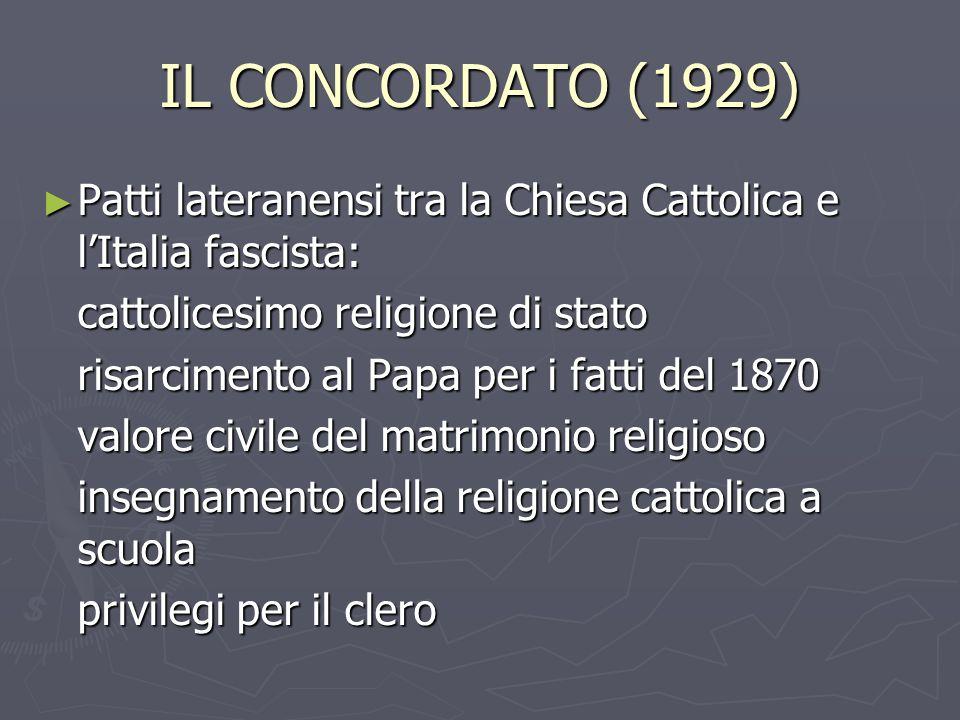 IL CONCORDATO (1929) Patti lateranensi tra la Chiesa Cattolica e l'Italia fascista: cattolicesimo religione di stato.
