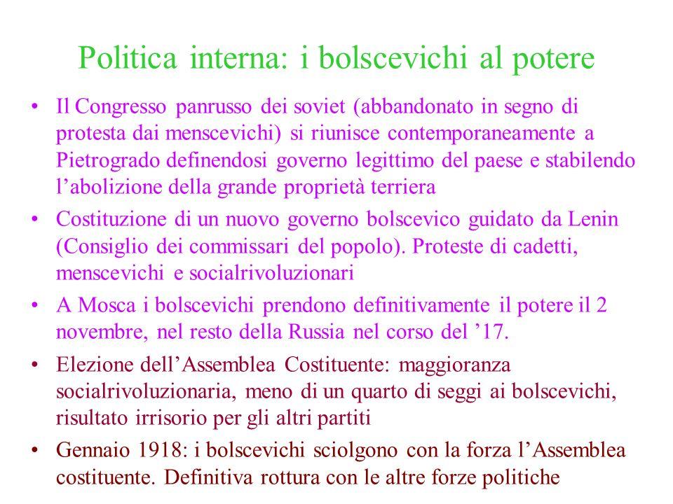 Politica interna: i bolscevichi al potere