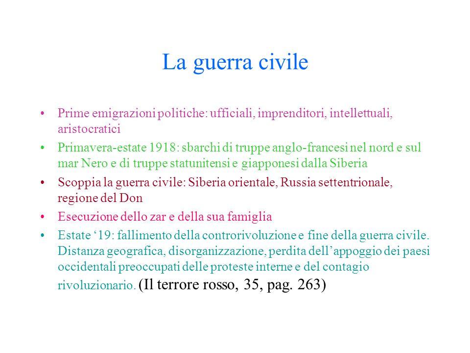 La guerra civile Prime emigrazioni politiche: ufficiali, imprenditori, intellettuali, aristocratici.