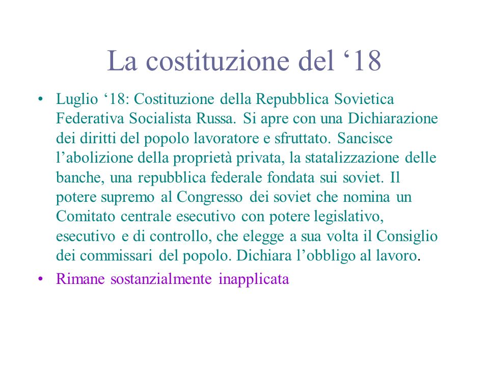 La costituzione del '18