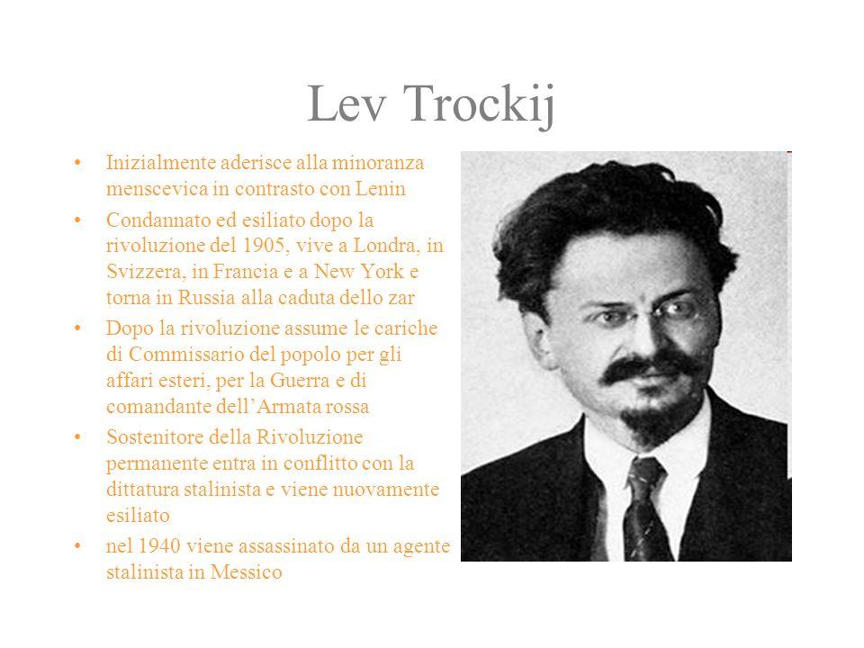 Lev Trockij Inizialmente aderisce alla minoranza menscevica in contrasto con Lenin.