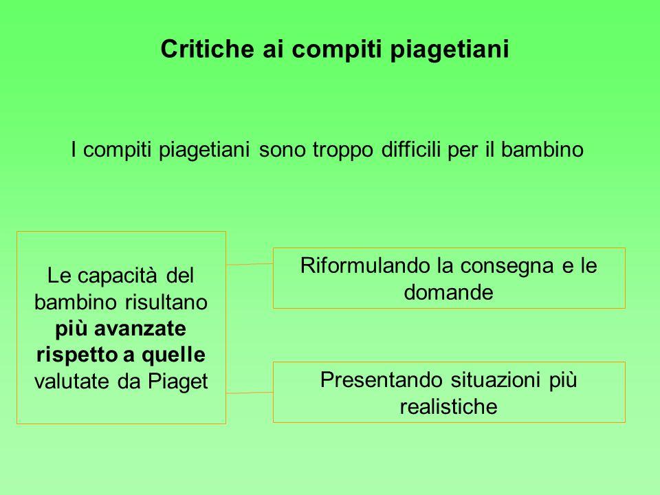 Critiche ai compiti piagetiani