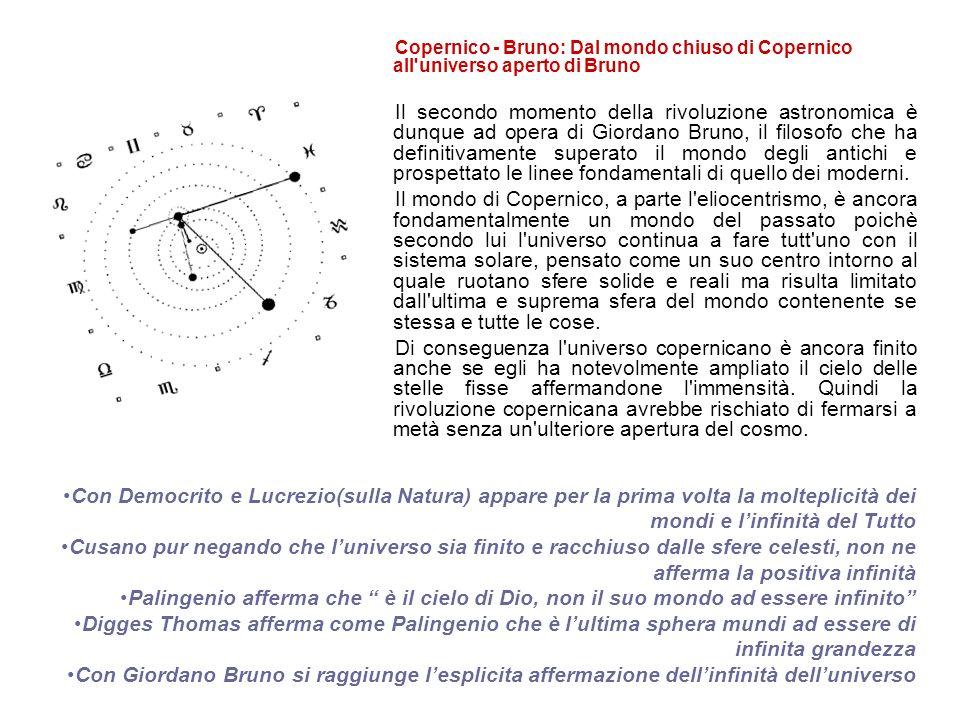 Copernico - Bruno: Dal mondo chiuso di Copernico all universo aperto di Bruno