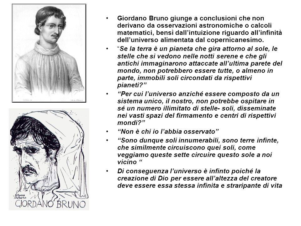 Giordano Bruno giunge a conclusioni che non derivano da osservazioni astronomiche o calcoli matematici, bensì dall'intuizione riguardo all'infinità dell'universo alimentata dal copernicanesimo.