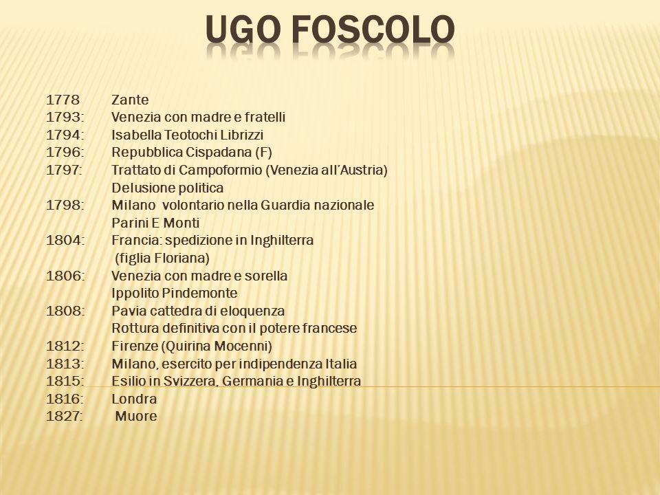 Ugo Foscolo 1778 Zante 1793: Venezia con madre e fratelli