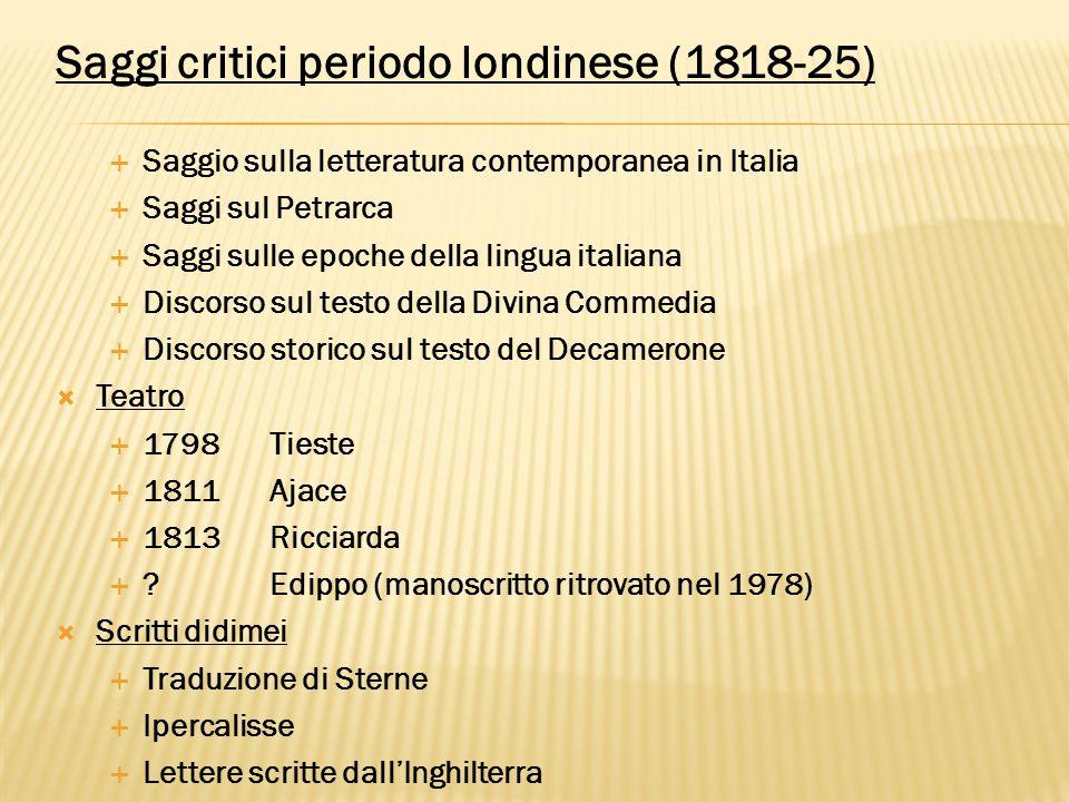 Saggi critici periodo londinese (1818-25)