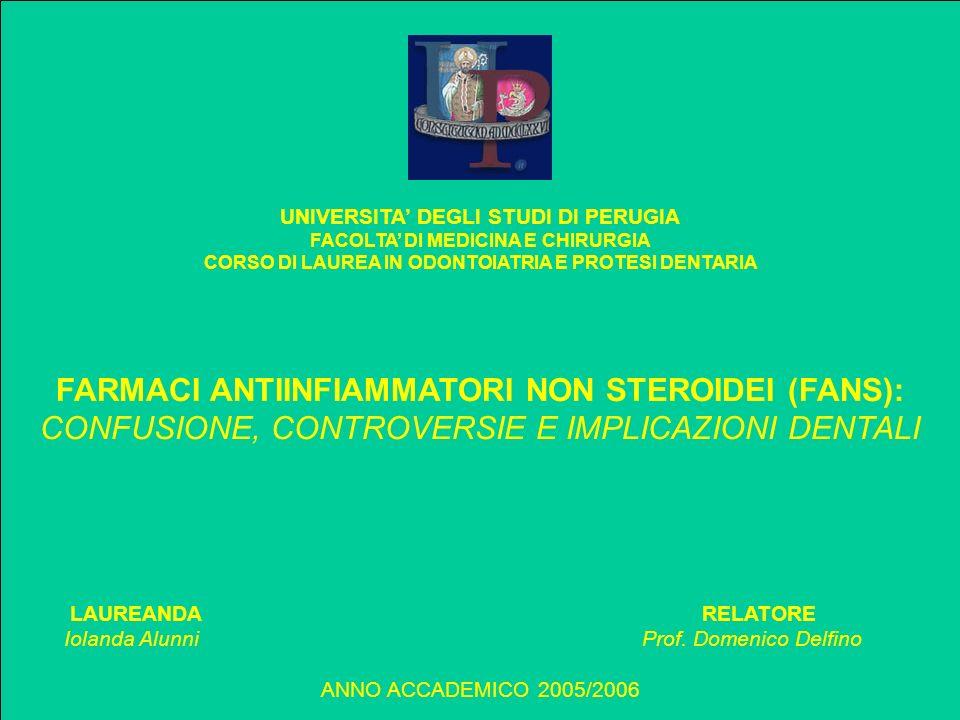 FARMACI ANTIINFIAMMATORI NON STEROIDEI (FANS):