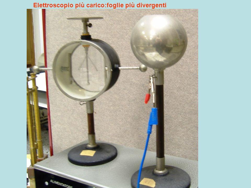 Elettroscopio più carico:foglie più divergenti