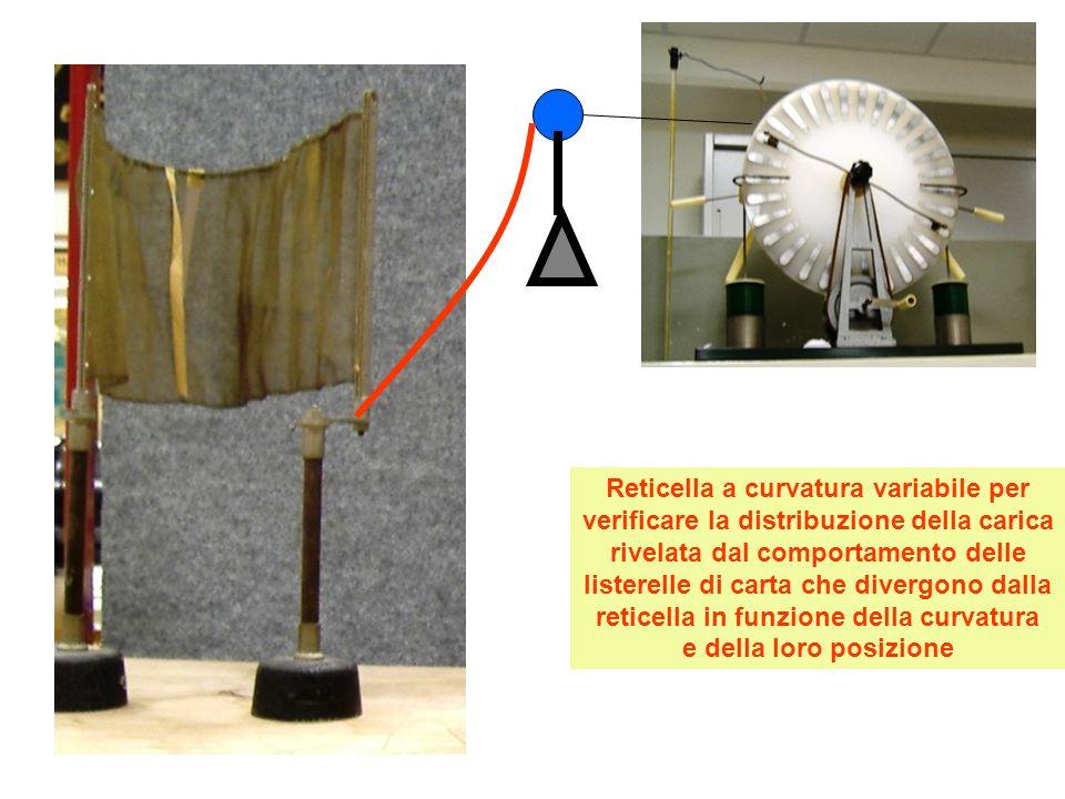 Reticella a curvatura variabile per verificare la distribuzione della carica rivelata dal comportamento delle listerelle di carta che divergono dalla reticella in funzione della curvatura e della loro posizione