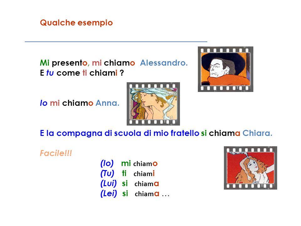 Qualche esempio Mi presento, mi chiamo Alessandro. E tu come ti chiami Io mi chiamo Anna.