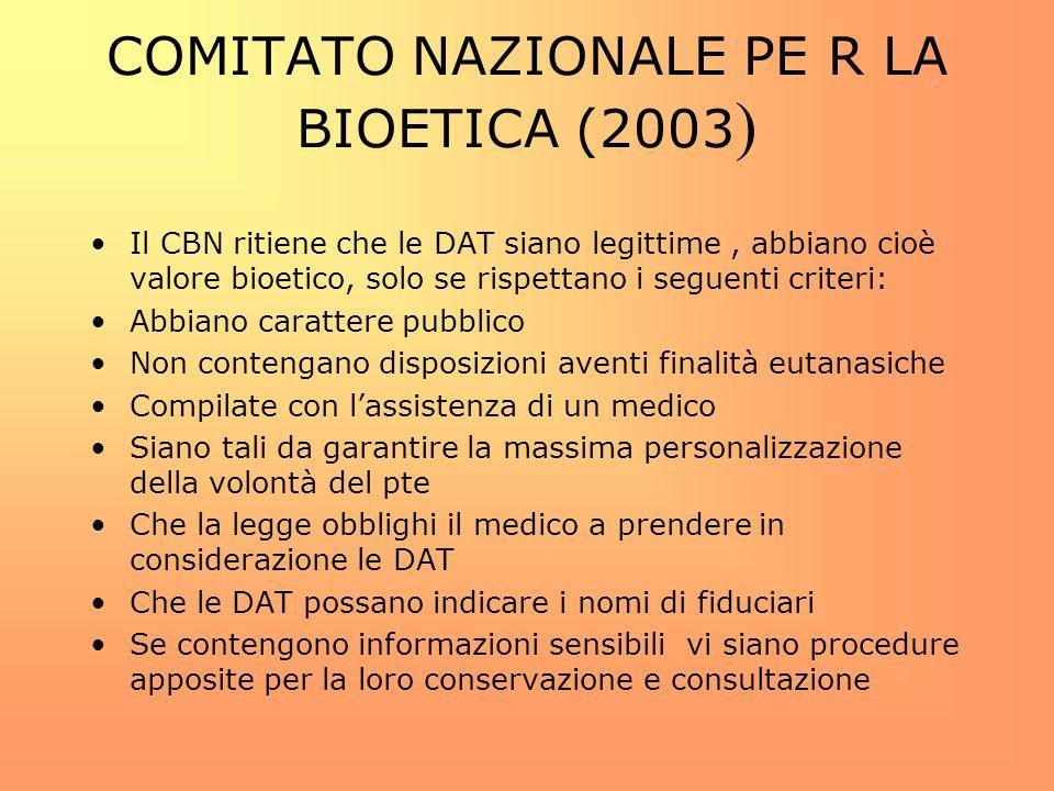 COMITATO NAZIONALE PE R LA BIOETICA (2003)