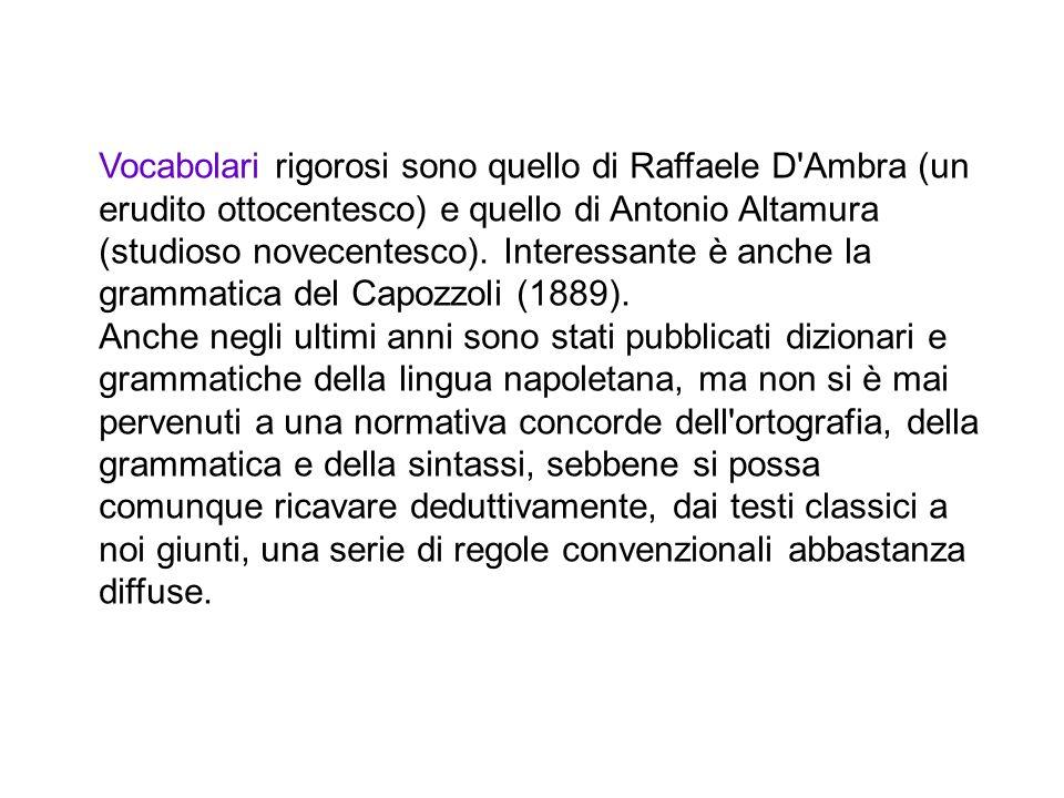 Vocabolari rigorosi sono quello di Raffaele D Ambra (un erudito ottocentesco) e quello di Antonio Altamura (studioso novecentesco). Interessante è anche la grammatica del Capozzoli (1889).