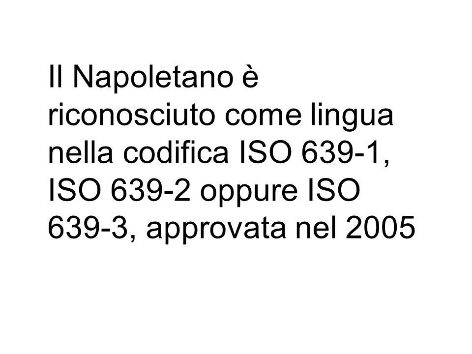 Il Napoletano è riconosciuto come lingua nella codifica ISO 639-1, ISO 639-2 oppure ISO 639-3, approvata nel 2005