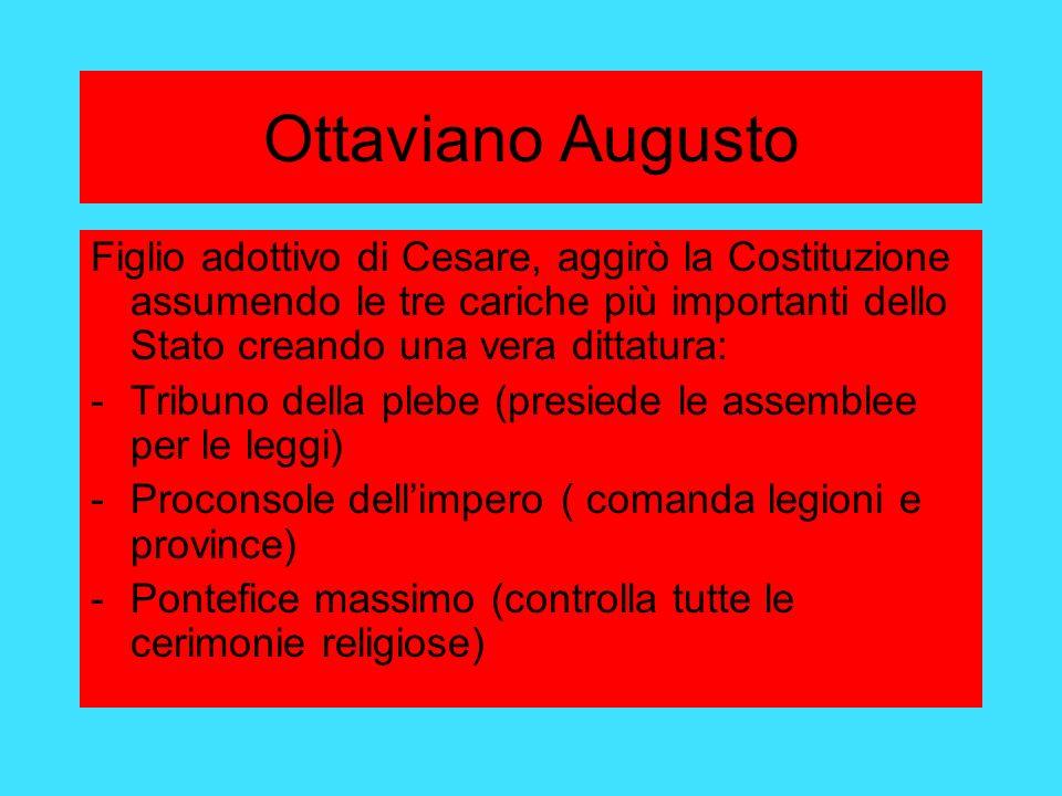 Ottaviano Augusto Figlio adottivo di Cesare, aggirò la Costituzione assumendo le tre cariche più importanti dello Stato creando una vera dittatura: