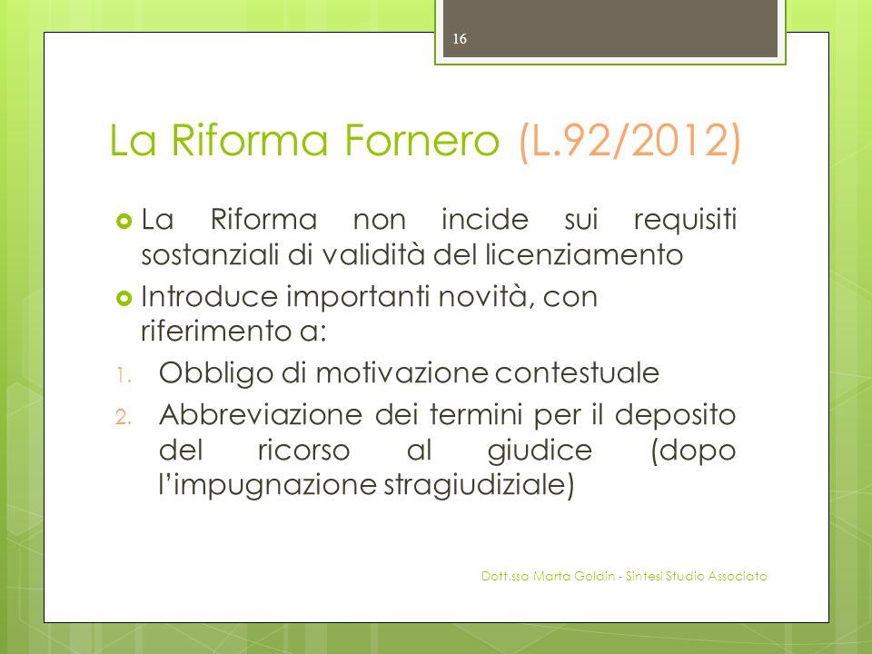 La Riforma Fornero (L.92/2012)