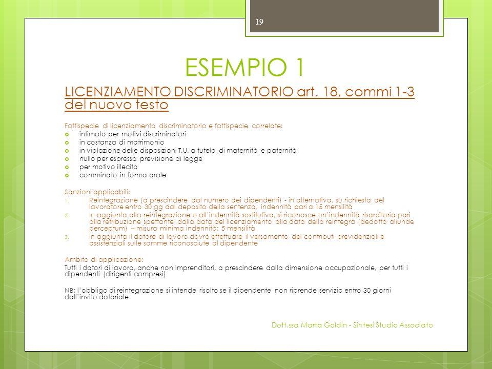 ESEMPIO 1 LICENZIAMENTO DISCRIMINATORIO art. 18, commi 1-3 del nuovo testo. Fattispecie di licenziamento discriminatorio e fattispecie correlate: