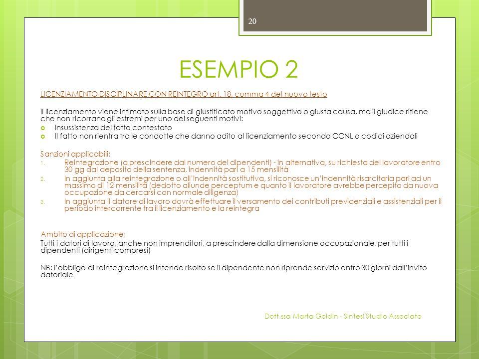 ESEMPIO 2 LICENZIAMENTO DISCIPLINARE CON REINTEGRO art. 18, comma 4 del nuovo testo.