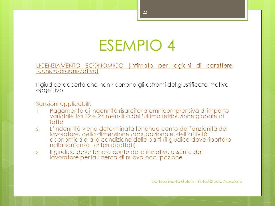 ESEMPIO 4 LICENZIAMENTO ECONOMICO (intimato per ragioni di carattere tecnico-organizzativo)