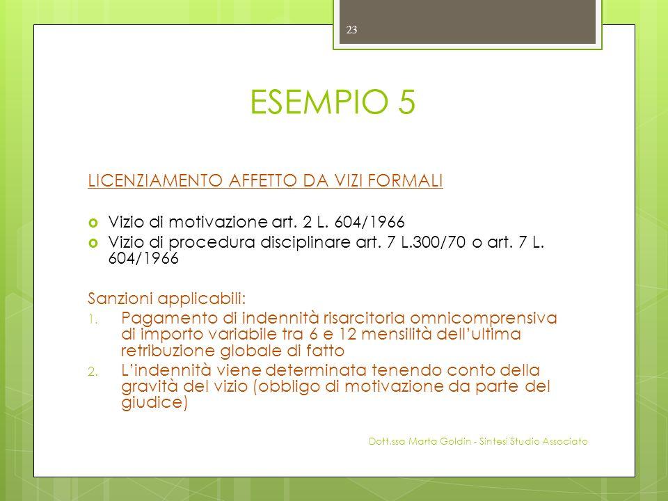 ESEMPIO 5 LICENZIAMENTO AFFETTO DA VIZI FORMALI