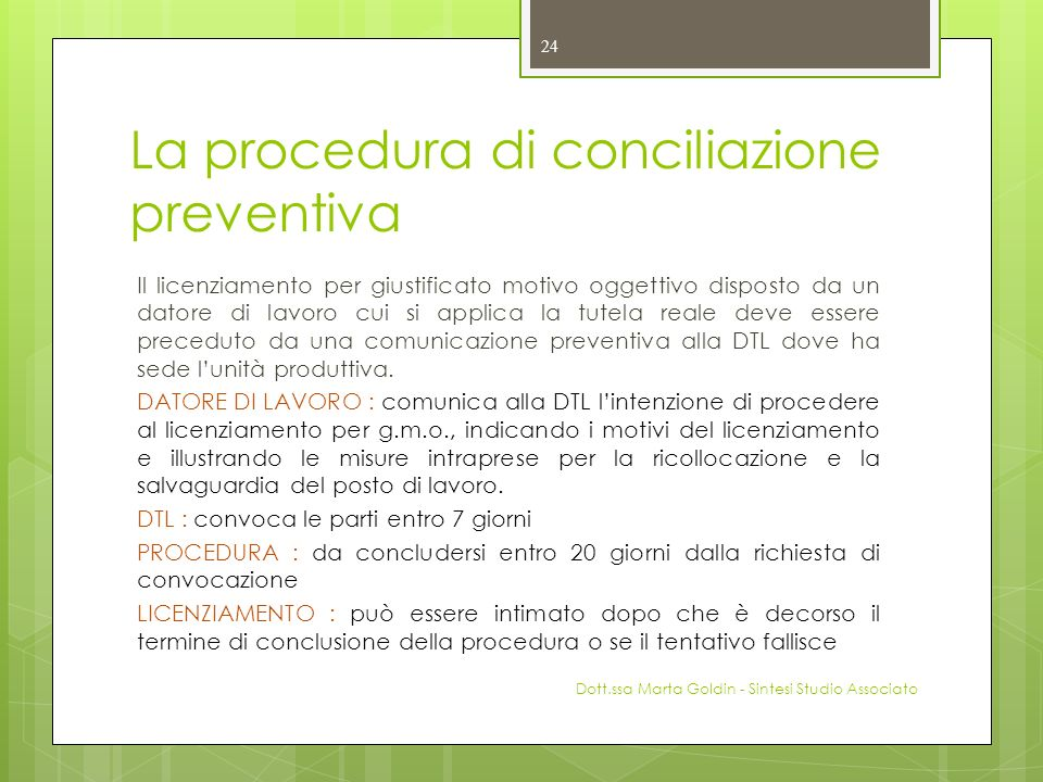 La procedura di conciliazione preventiva