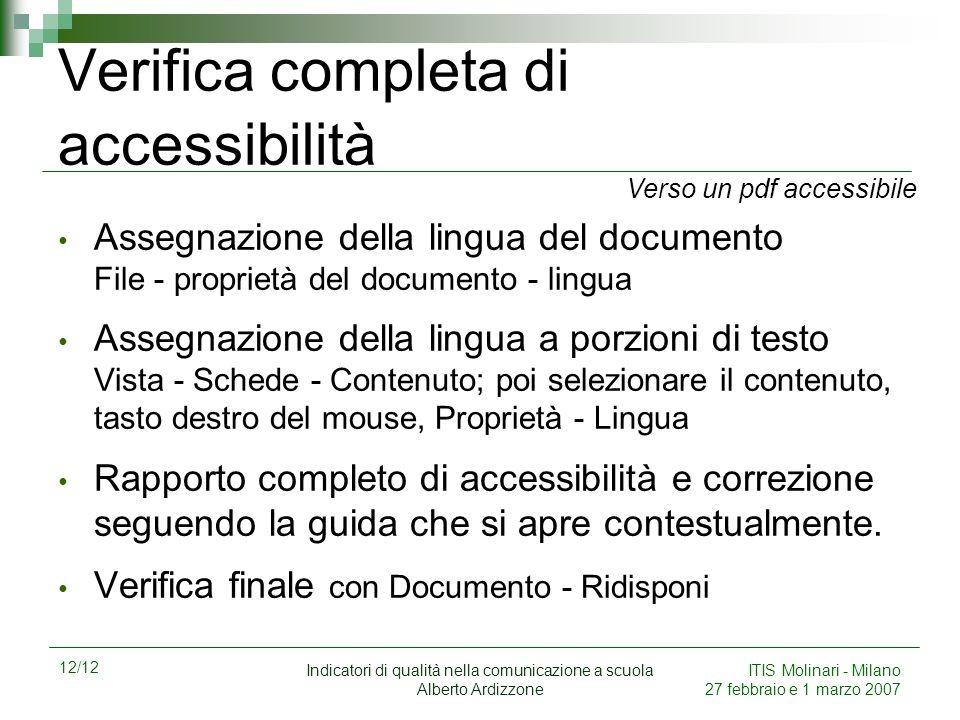 Verifica completa di accessibilità