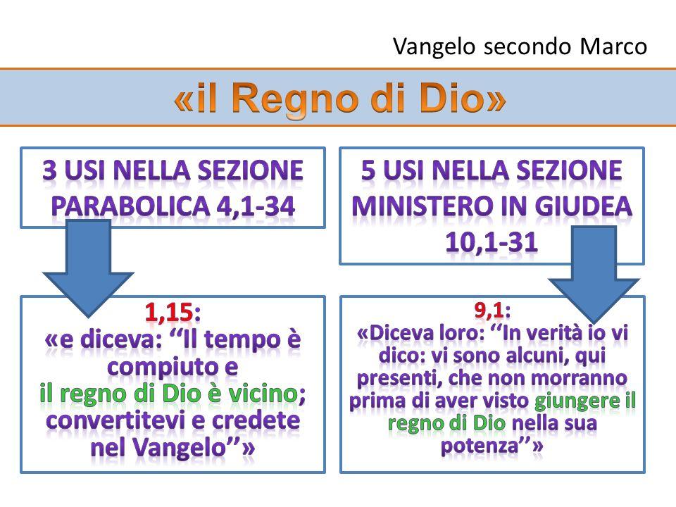 «il Regno di Dio» 3 usi nella sezione parabolica 4,1-34