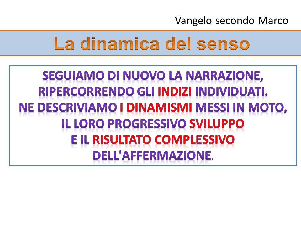 Vangelo secondo Marco La dinamica del senso. Seguiamo di nuovo la narrazione, ripercorrendo gli indizi individuati.
