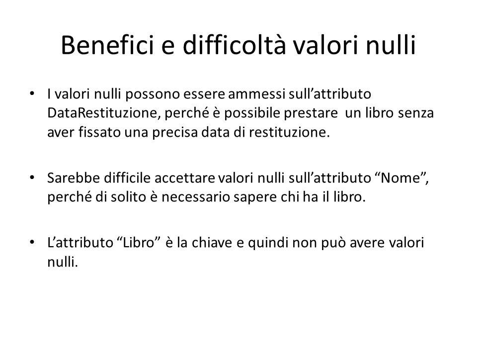 Benefici e difficoltà valori nulli