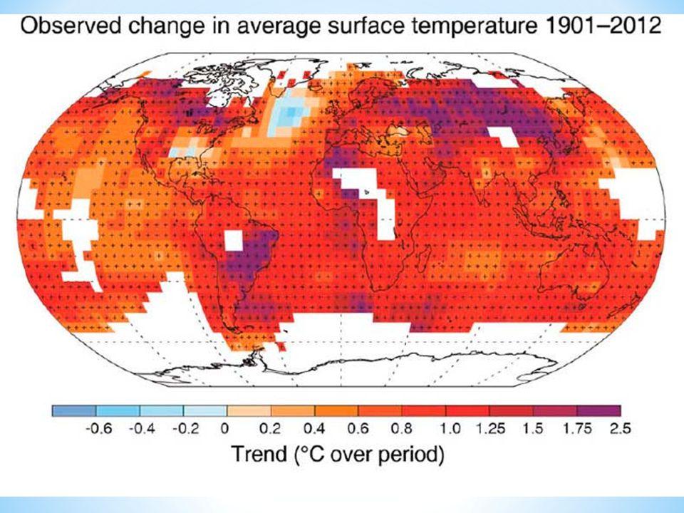 Variazioni nella temperature superficiale media - 1901-2012 Il pianeta rosso: la temperatura superficiale terrestre, indicata in gradi Celsius, è aumentata quasi ovunque (le aree bianche sono quelle per cui i dati del periodo considerato sono insufficienti)